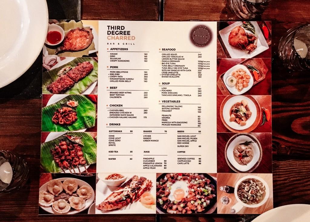 third degree charred menu